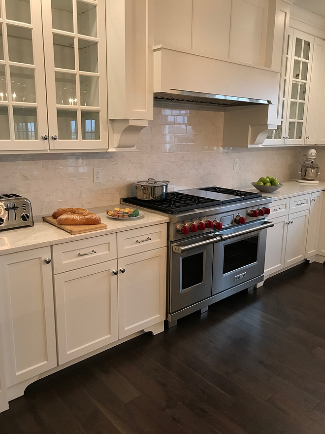 Kitchen backsplash The kitchen backsplash is made with Atlas Concorde Eon Carrara Bricks that match perfectly with the countertops We used white grout #kitchen #backsplash #kitchenbacksplash