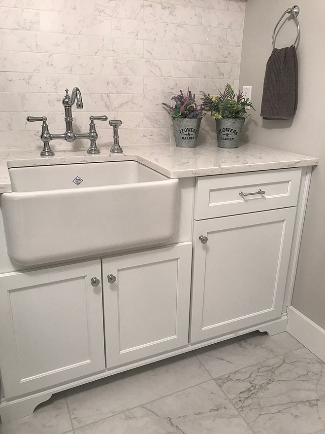 Laundry room sink Laundry room faucet laundry room farmhouse sink We chose a Perrin and Rowe Bridge Kitchen Faucet with Sidespray in polished chrome and a Shaws Apron Front Sink for an industrial feel #laundryroom #sink #farmhousesink #faucet