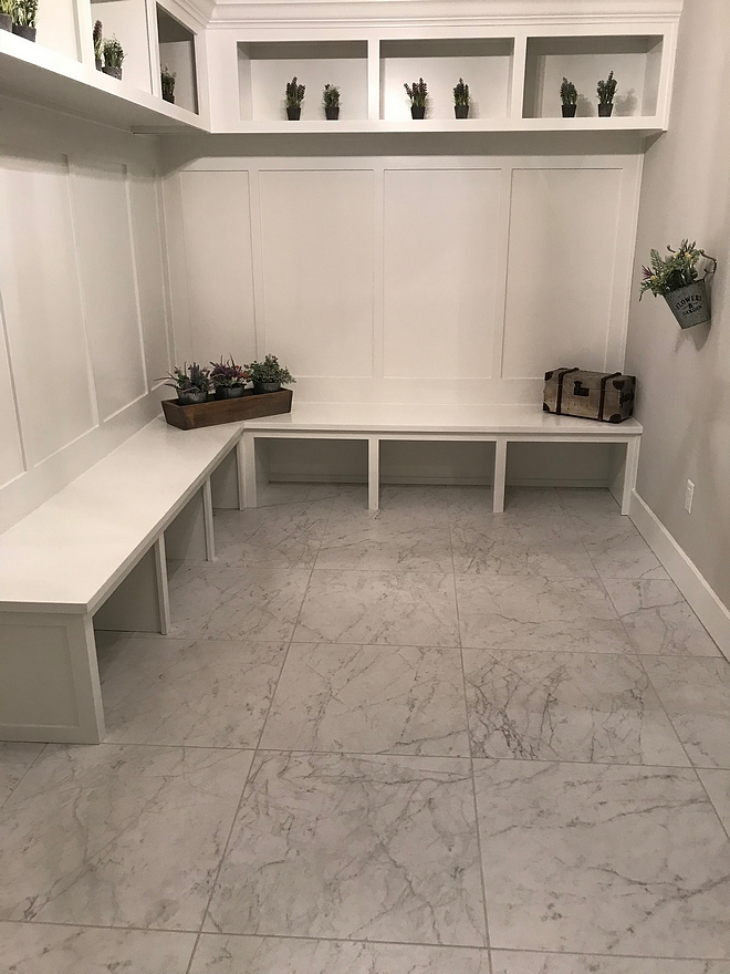 Extra White by Sherwin Williams White mudroom painted in Extra White by Sherwin Williams The mudroom features a custom bench and cubbies Extra White by Sherwin Williams #ExtraWhitebySherwinWilliams