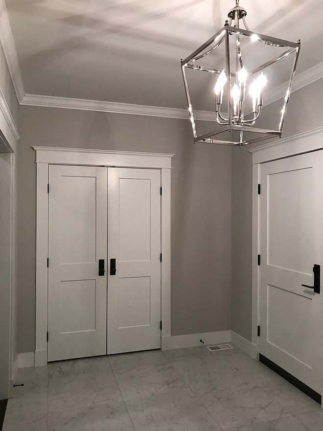 Repose Gray from Sherwin Williams paint color with white trim and white doors Repose Gray from Sherwin Williams Grey wall paint color Repose Gray from Sherwin Williams grey paint color #ReposeGraySherwinWilliams #ReposeGray #SherwinWilliams