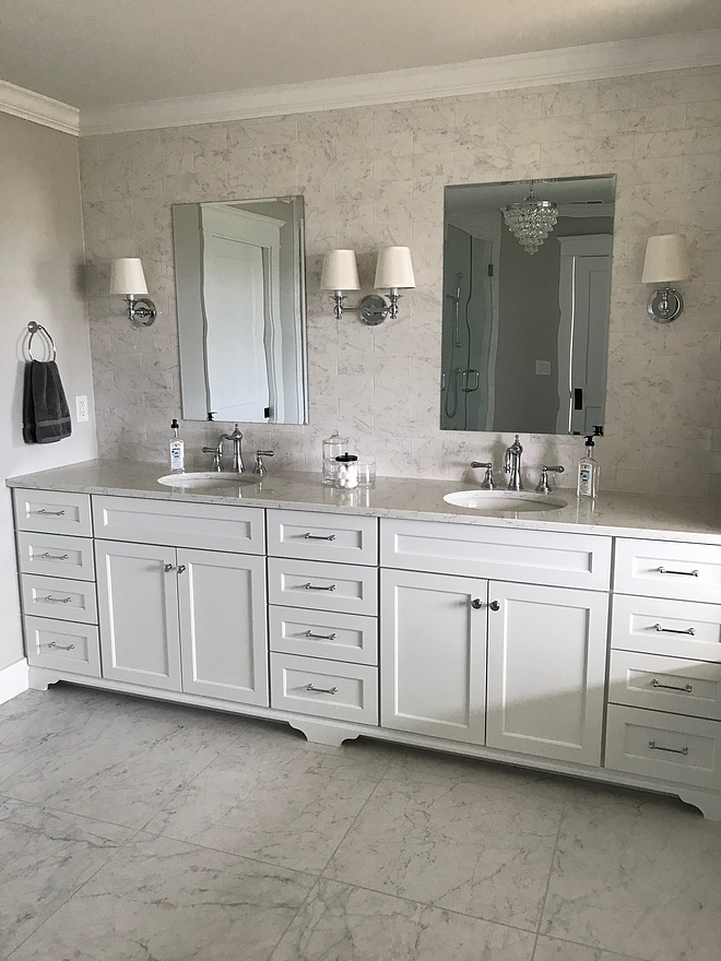 Sherwin Williams Extra White Crisp white cabinet paint color Bathroom cabinet paint color is Sherwin Williams Extra White #SherwinWilliamsExtraWhite #Whitepaintcolor #Whitebathroomcabinet #crispWhite