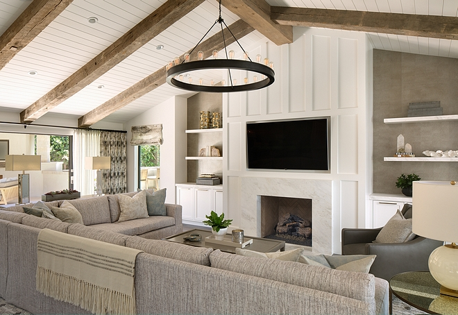 Great Room The great room was designed as a dual functioning Living Room and Great Room with elevated, sophisticated materials and overstuffed, deep, comfortable seating #greatroom