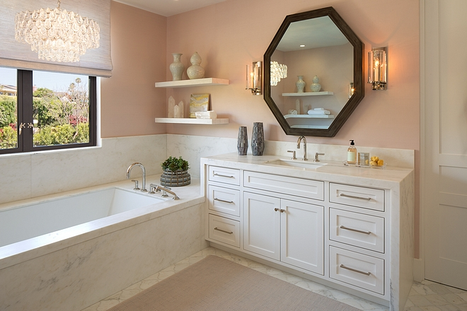 Waterfall Bathroom Vanity Honed Pacific White Marble - This same marble is used on walls surrounding the tub and as tub wainscoting Waterfall Bathroom Vanity #WaterfallBathroomVanity