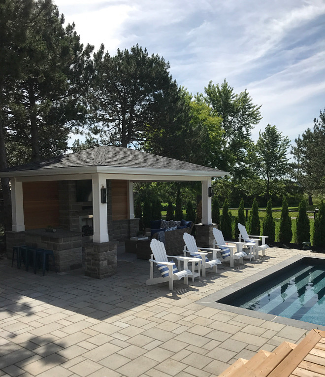 "Pool paver We chose bluestone pavers and a darker liner to give the pool a ""lake-like feel"