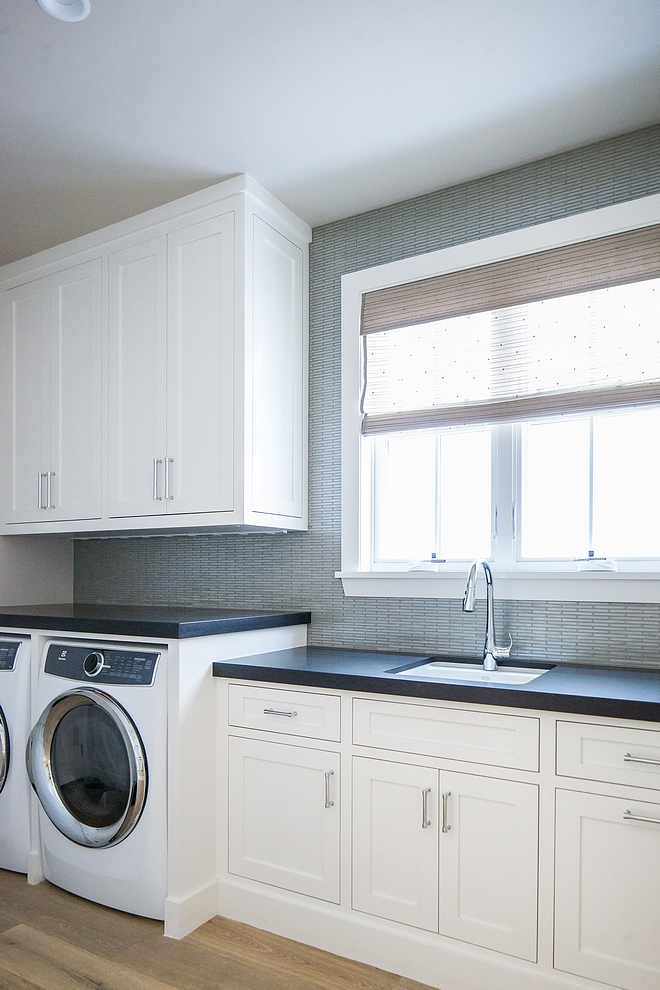 Dunn Edwards Carrara semi-gloss cabinet paint color Laundry room white cabinet paint color Dunn Edwards Carrara semi-gloss cabinet paint color #laundryroom #whitecabinet #paintcolor #DunnEdwardsCarrara