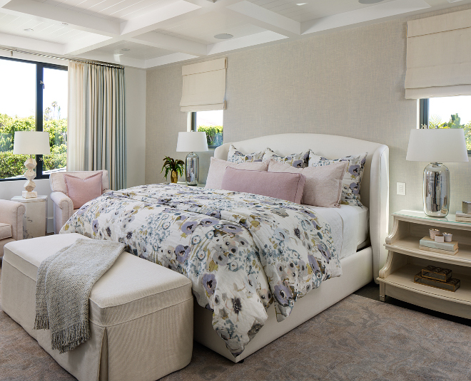 Bedroom Color Scheme Neutral beiges greys with blush pink and soft florals Lovely bedroom color scheme of ivory, beige, greys, blush pink and soft florals
