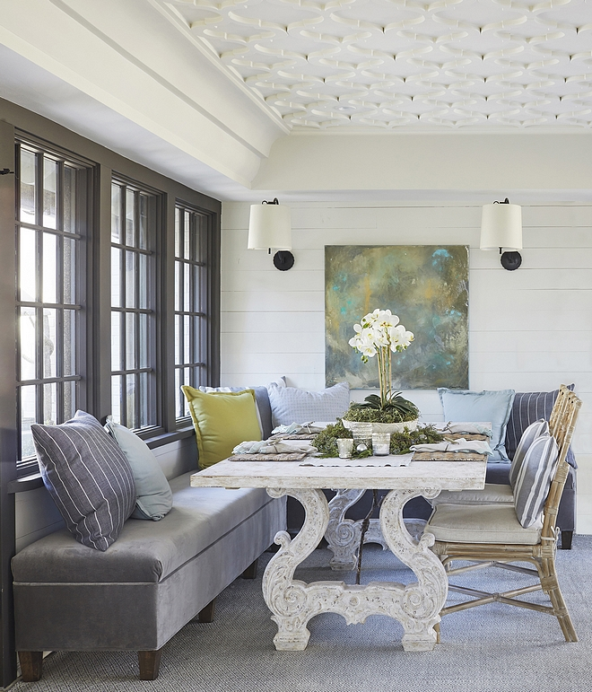 Breakfast Room Ceiling The Breakfast Room offers a custom banquette, custom ceiling applique and views of the courtyard Breakfast Room Ceiling Breakfast Room Ceiling #BreakfastRoom #Ceiling