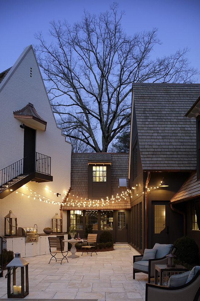 Patio string lights Limestone Paved Patio with outdoor string lights Patio string lights Patio string lights #Patio #stringlights