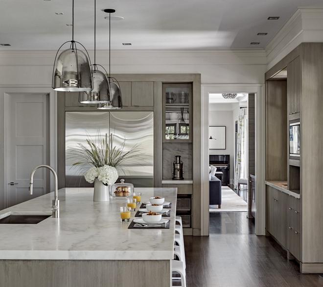 White Oak Kitchen with Calacatta Marble Countertop