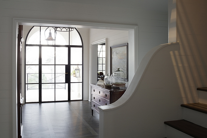 Benjamin Moore White Dove with dark hardwood flooring Benjamin Moore White Dove paint color #BenjaminMooreWhiteDove