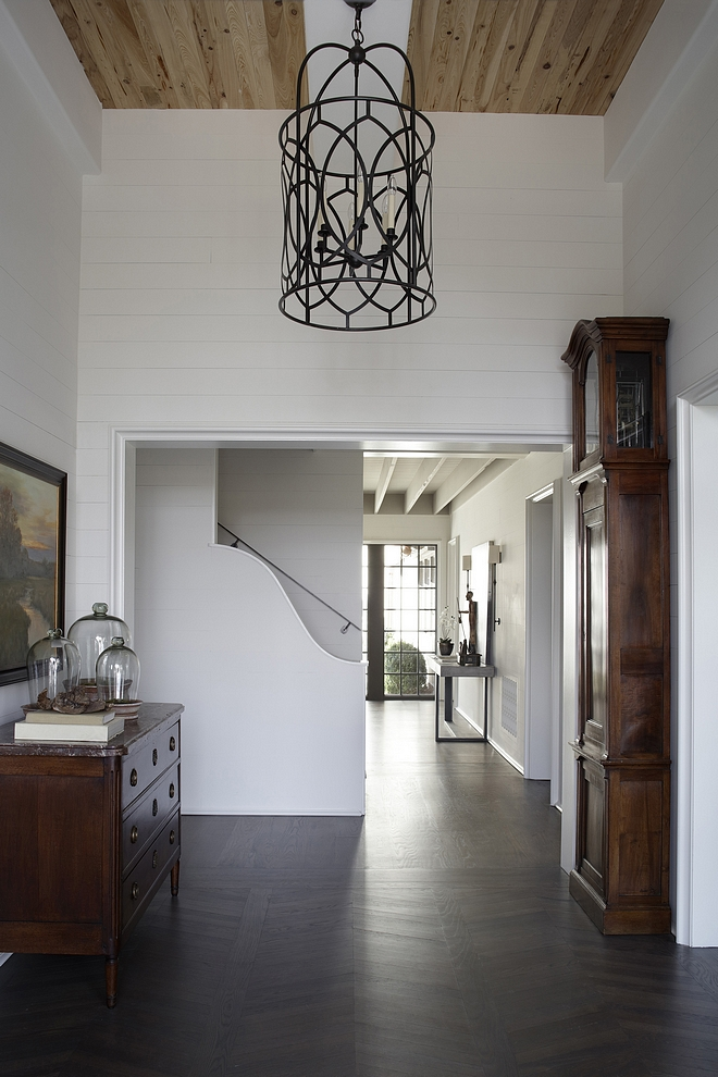 Benjamin Moore White Dove OC-17 The foyer features Pecky Cypress Ceilings and Pine wall paneling painted in Benjamin Moore White Dove OC-17 Benjamin Moore White Dove OC-17 #BenjaminMooreWhiteDoveOC17 #BenjaminMooreWhiteDove #BenjaminMooreOC17