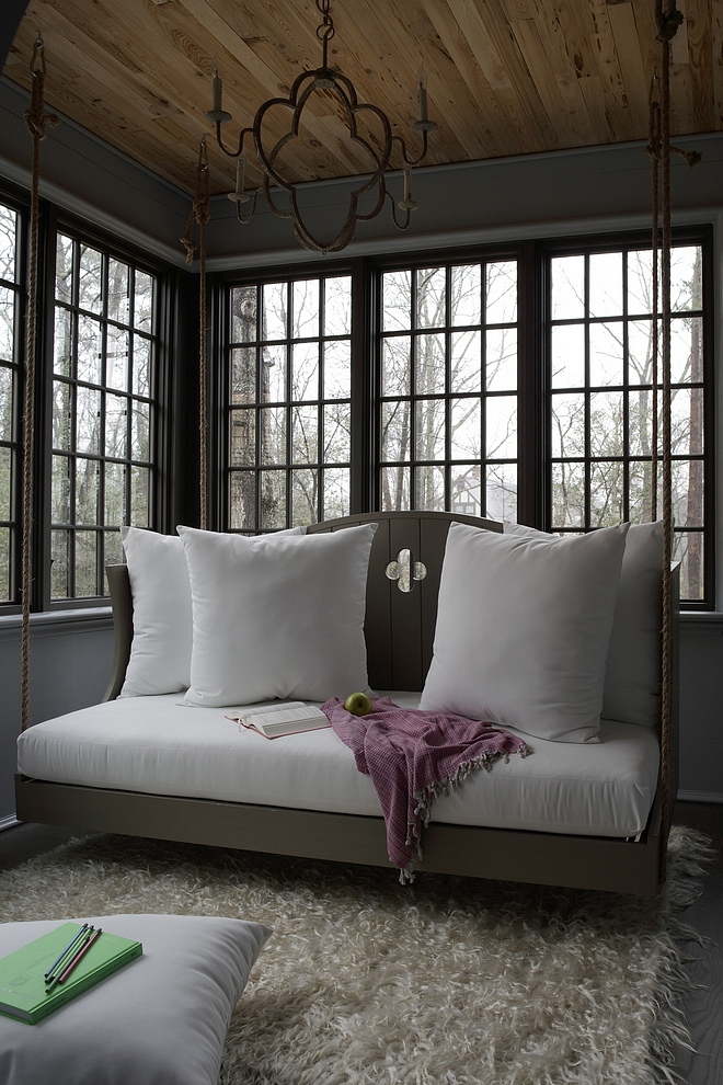 Chelsea Gray by Benjamin Moore The sunroom is painted in Chelsea Gray by Benjamin Moore, reclaimed wood ceiling and features a rope swing bed Chelsea Gray by Benjamin Moore Chelsea Gray by Benjamin Moore #ChelseaGraybyBenjaminMoore