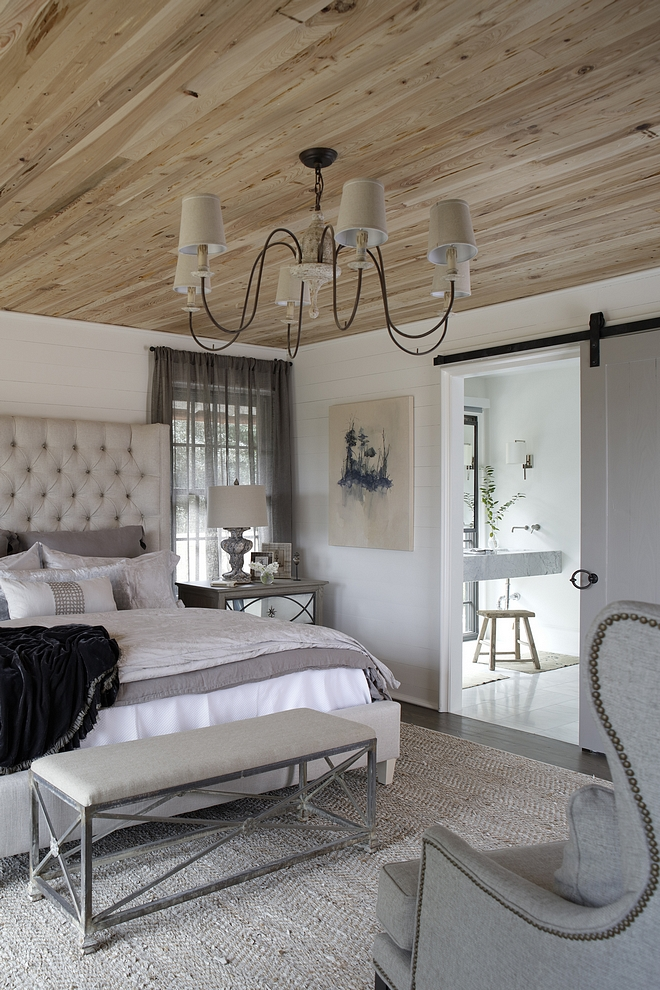 Benjamin Moore White Dove Bedroom Benjamin Moore White Dove The master bedroom feels so warm with the Pecky Cypress ceilings Walls are painted in Benjamin Moore White Dove #BenjaminMooreWhiteDove