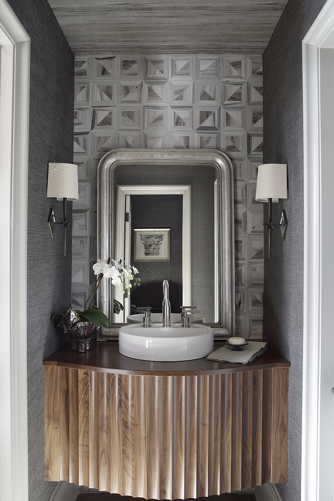 Powder Room Vanity The wallcovering is Phillip Jeffries and Nobilis Custom Powder Room Vanity Powder Room Vanity #PowderRoomVanity