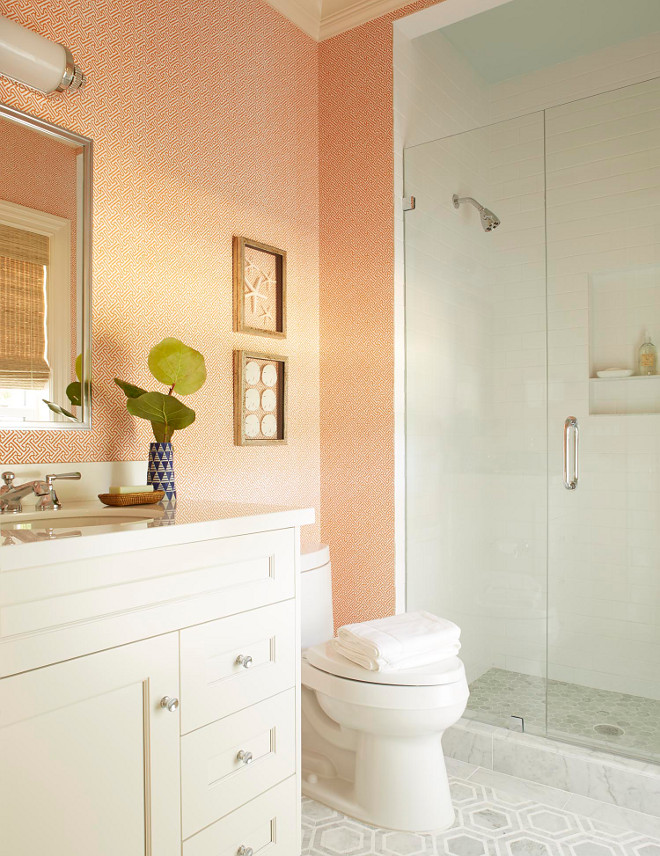 Bathroom Wallpaper Quadrille Java Java Salmon on White Best wallpaper for bathrooms Bathroom Wallpaper Quadrille Java Java Salmon on White #BathroomWallpaper #Quadrille
