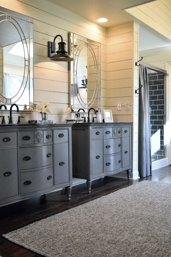 Benjamin Moore Chelsea Gray Benjamin Moore Chelsea Gray Farmhouse bathroom with grey vanities painted Benjamin Moore Chelsea Gray #BenjaminMooreChelseaGray