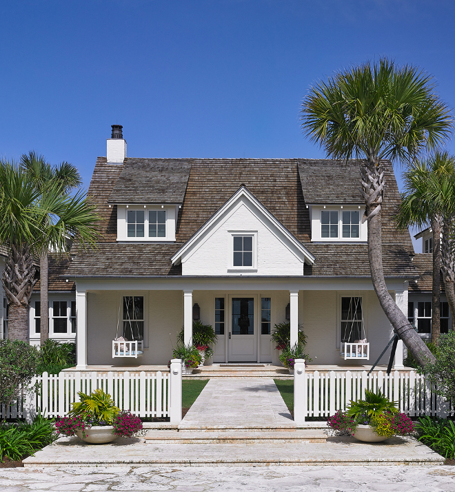 Benjamin Moore White Dove Exterior Cottage Beach Cottage Exterior with brik painted in Benjamin Moore White Dove Exterior Paint Color #BenjaminMooreWhiteDove #Exterior #PaintColor