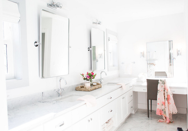 Master Bathroom Vanity Design The master bathroom features a L-shaped vanity This is a great way to work with this size of bathroom vanity Design #MasterBathroom #VanityDesign