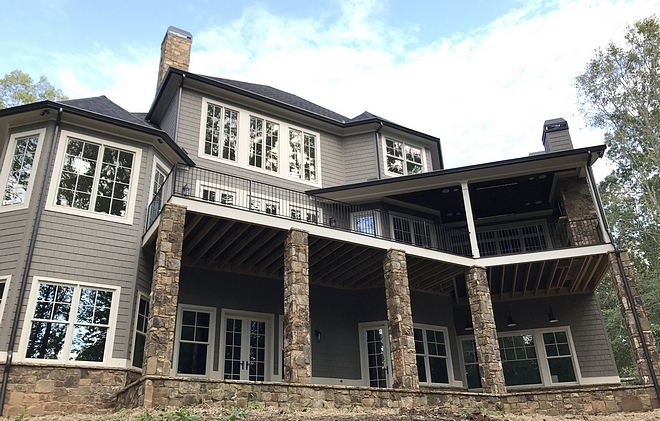 Back of House Deck Walk-out Basement Home with Deck and Porch Architecture #deck #homes #architecture #deck