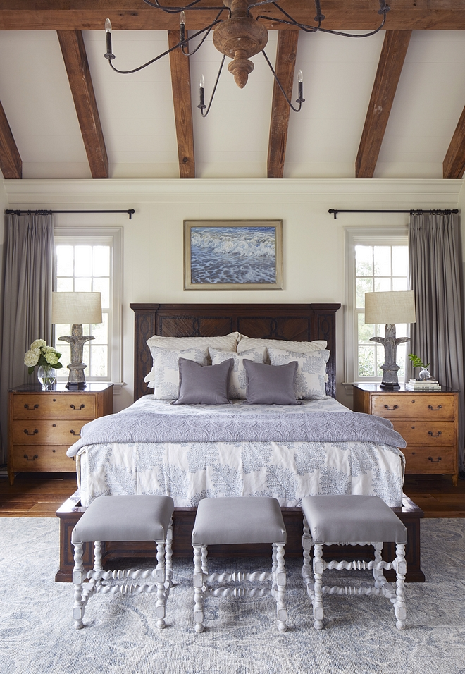 Main Floor Master Bedroom The master bedroom has a vaulted ceiling and reclaimed heart pine beams to give the space a sense of scale Main Floor Master Bedroom #MainFloorMasterBedroom #MasterBedroom #Bedroom