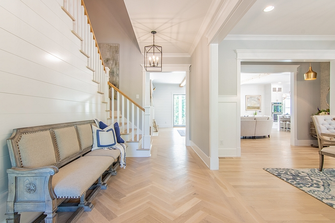 "Hardwood Flooring is 4"" White Oak Flooring in a herringbone pattern herringbone pattern hardwood herringbone pattern hardwood flooring #herringbonepattern #hardwoodflooring"