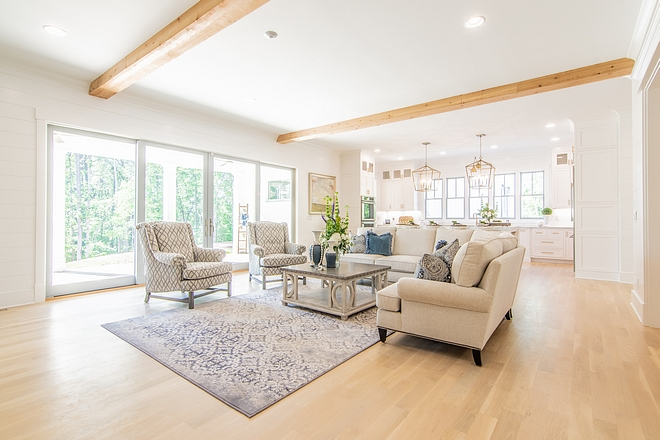 Open concept family Room Family room features 1x8 'Shiplap' throughout Open concept family Room #Openconcept #familyRoom #shiplap