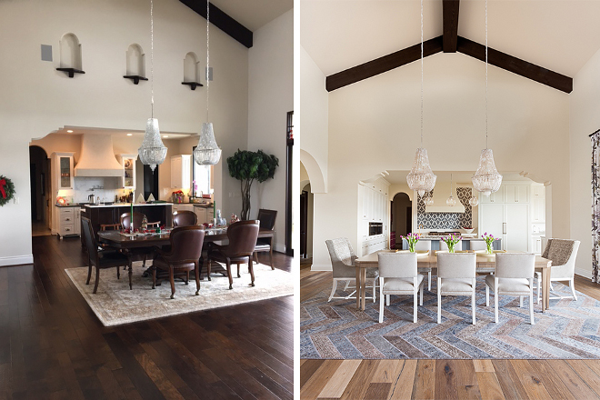 Before and After Spanish Home Renovation The house used to feel heavy and outdated New paint, new flooring and a few other changes made this entire space feel more current and brighter #BeforeandAfter #SpanishHomeRenovation