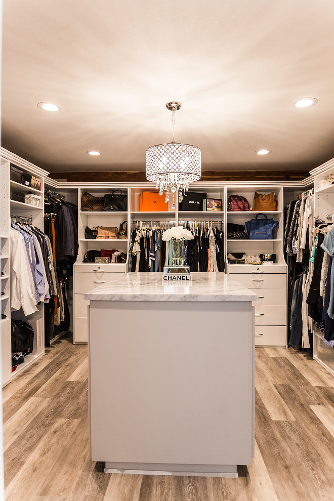 Closet Master closet with island The island now is a functional dresser and allows for more storage #closet #closetisland