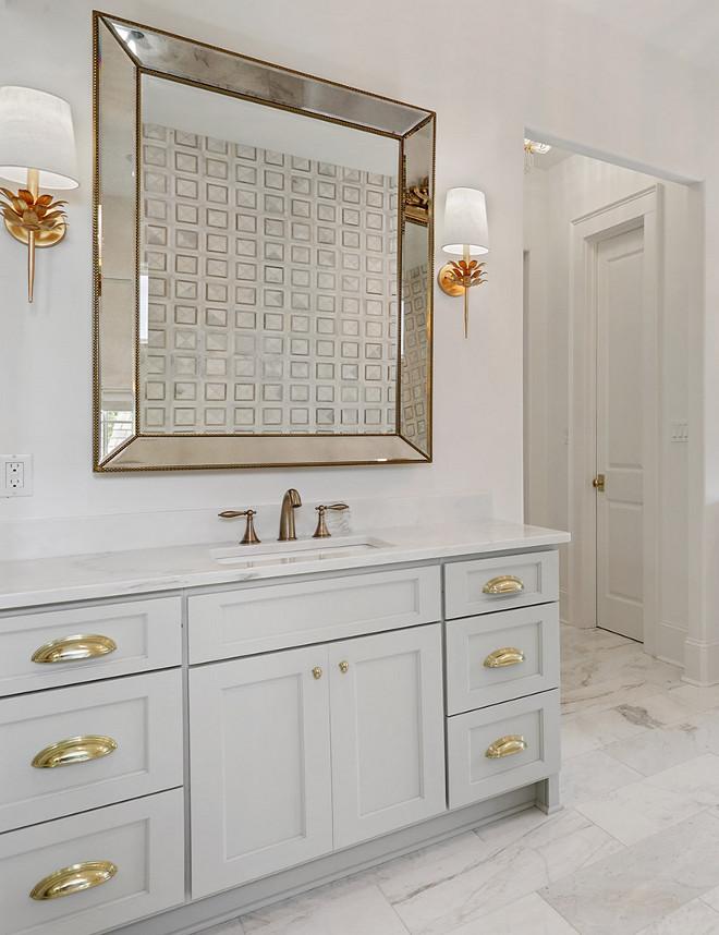 Benjamin Moore Oystershell 864 Grey Bathroom Vanity Benjamin Moore Oystershell 864 Grey Bathroom Vanity Grey Bathroom #BenjaminMooreOystershell #GreyBathroomVanity
