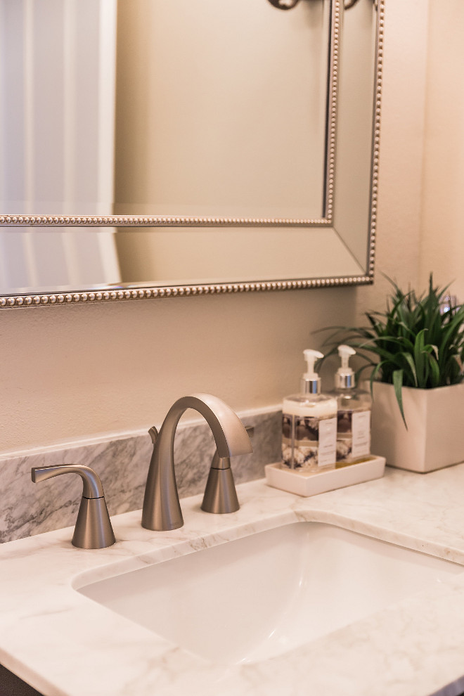 Guest Bathroom Guest Bathroom was a small renovation We ripped out the existing bathroom and dropped in a vanity that was purchased from Home Depot #guestbathroom