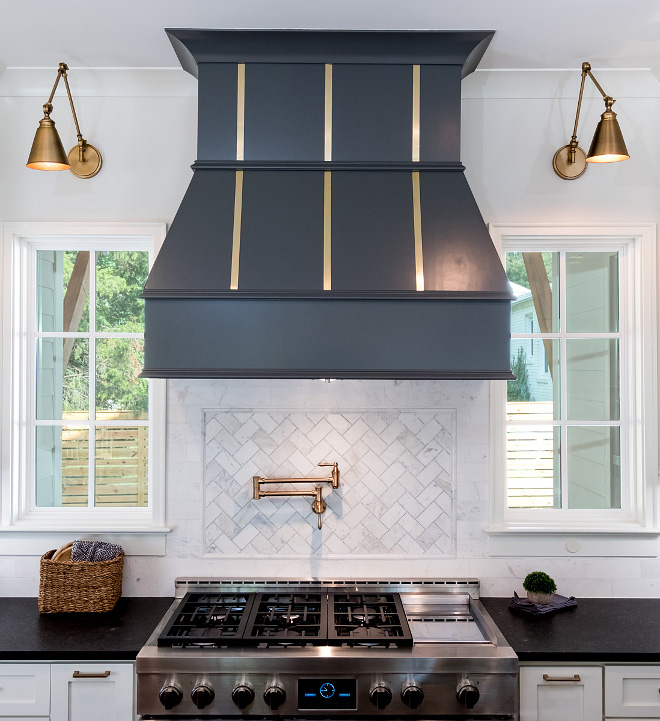 Kitchen Window I love when builders incorporate windows on either side of the range/range hood Kitchen Window #Kitchen #Window #KitchenWindow