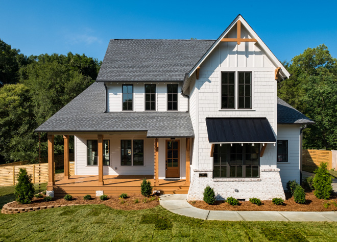Farmhouse-Style Home Inspired by Chip & Joanna Gaines Modern Farmhouse Front Porch Exterior #ModernFarmhouse #FarmhouseStyle #FarmhouseStyleHome #ChipGaines #JoannaGaines