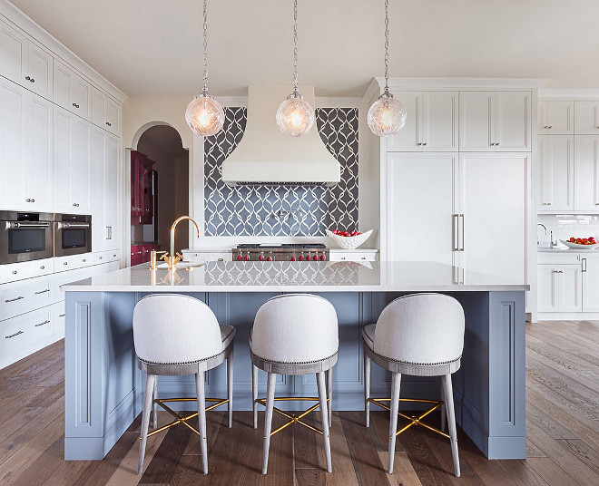 White kitchen with blue island Spacious White kitchen with blue island White kitchen with blue island #Whitekitchenblueisland
