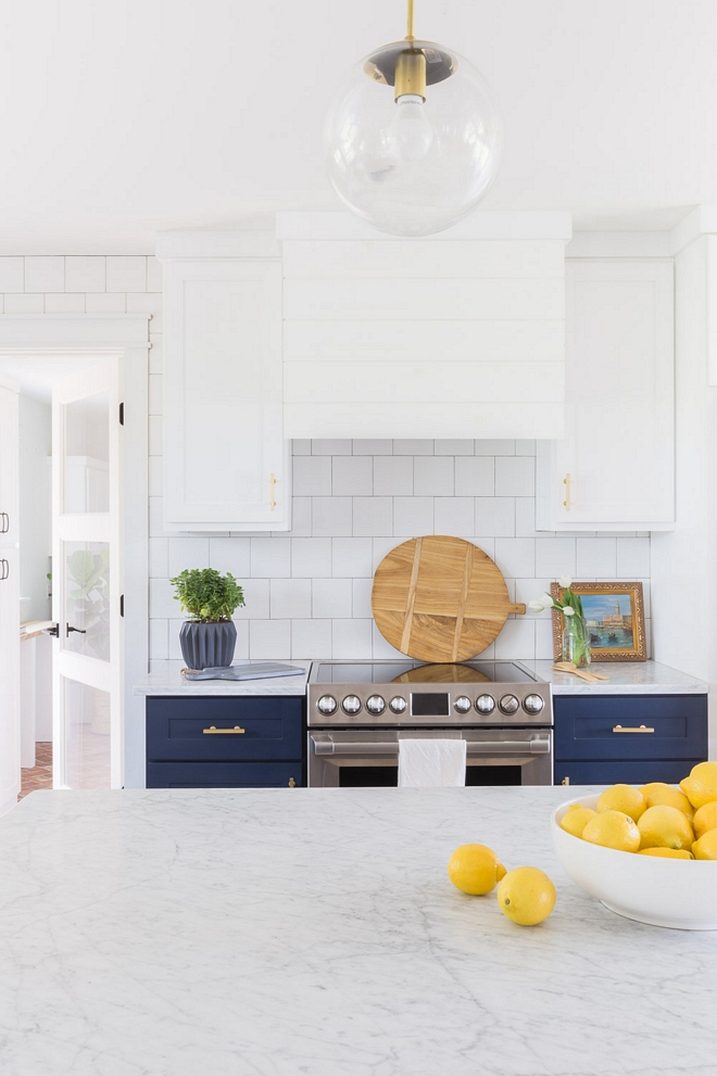 Shiplap Hood Two-toned kitchen with shiplap hood, shaker cabinets and classic square subway tile 2540 Love ©AlyssaRosenheck #ShiplapHood #Twotonedkitchen #shiplap #hood #shakercabinets #squaresubwaytile
