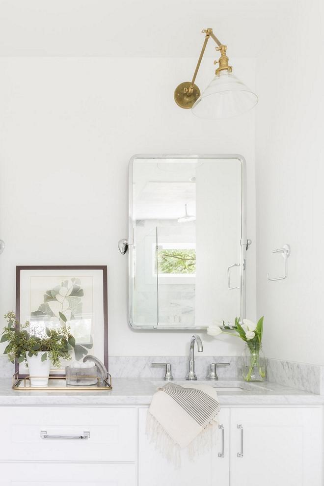 Bathroom White Bathroom with Carrara marble countertop 2540 Love ©AlyssaRosenheck #whitebathroom #bathroomcararra #bathroom #marble