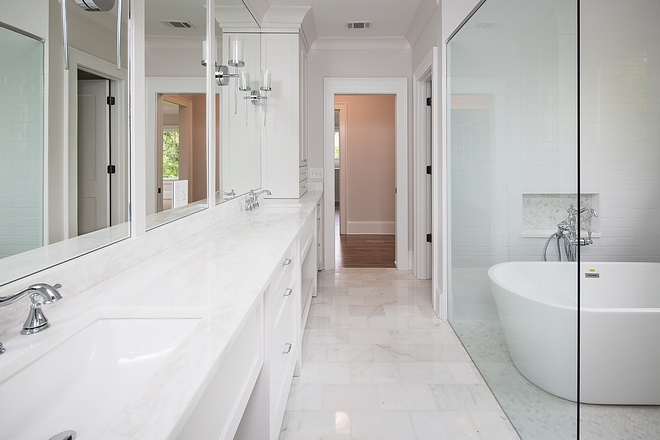Bathroom Floor Tile Carrera White 8x12 polished #bathroom #floortile #CarreraWhitetile