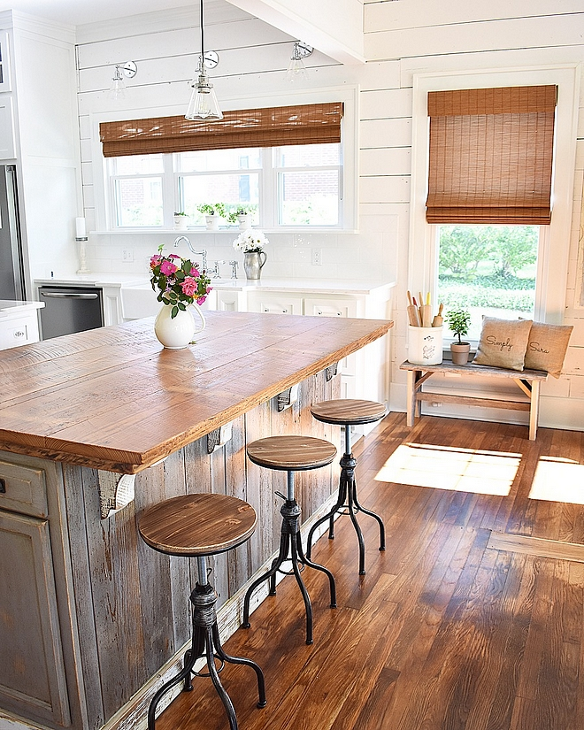 Kitchen Island Custom made from salvaged wood from one of the oldest houses in North Louisiana Barnwood countertop is from a 100 year old salvaged barn, a parish over #KitchenIsland #barnwood #salvagewood #island #kitchen #reclaimedwood