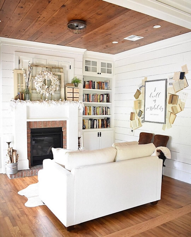 Sherwin Williams Snowbond Sherwin Williams Snowbond with stained shiplap ceiling Sherwin Williams Snowbond #SherwinWilliamsSnowbond