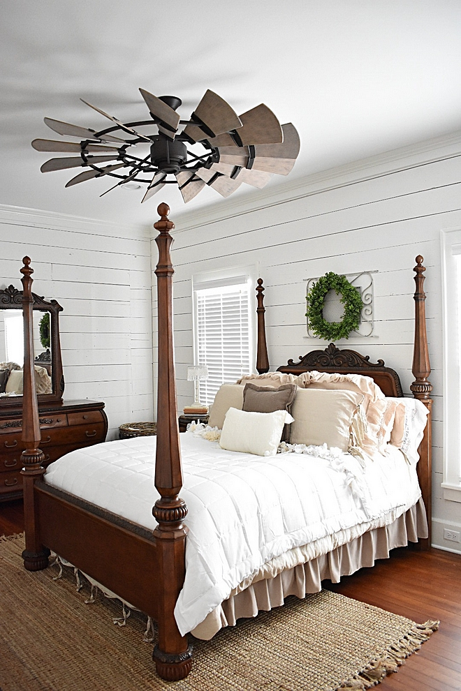 Farmhouse Bedroom with original shiplap walls and windmill ceiling fan #FarmhouseBedroom #farmhouse #Bedroom #shiplap #windmillceilingfan #windmillfan