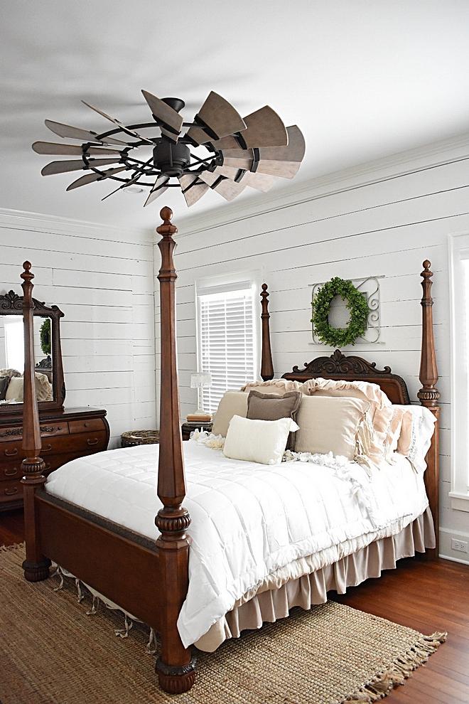 Farmhouse Bedroom with original shiplap walls and windmill ceiling fan #FarmhouseBedroom #farmhouse #Bedroom #shiplap #windmillceilingfan #windmillfan