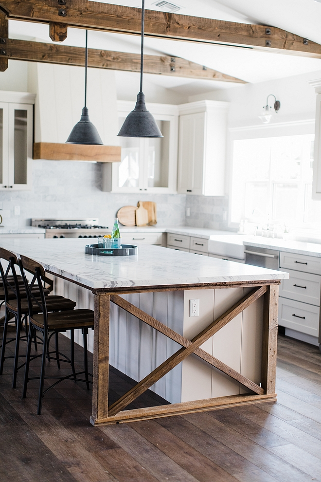 Kitchne island The island ends feature vertical shiplap To bring in a contrasting material we added the custom barnwood 'x' detail to each end of the island #kitchenisland #kitchneisland #xisland #xdetail #shiplap