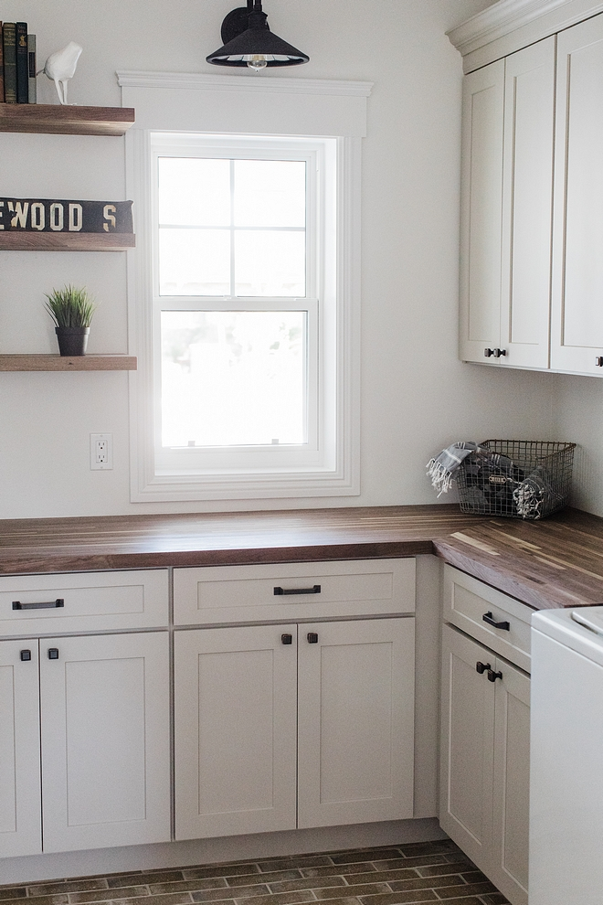 American Walnut Countertop Countertops and shelves are made from American Walnut butcher-block and the builder added a matte finish cleat coat on top of them #countertop #AmericanWalnutCountertop #WalnutCountertop