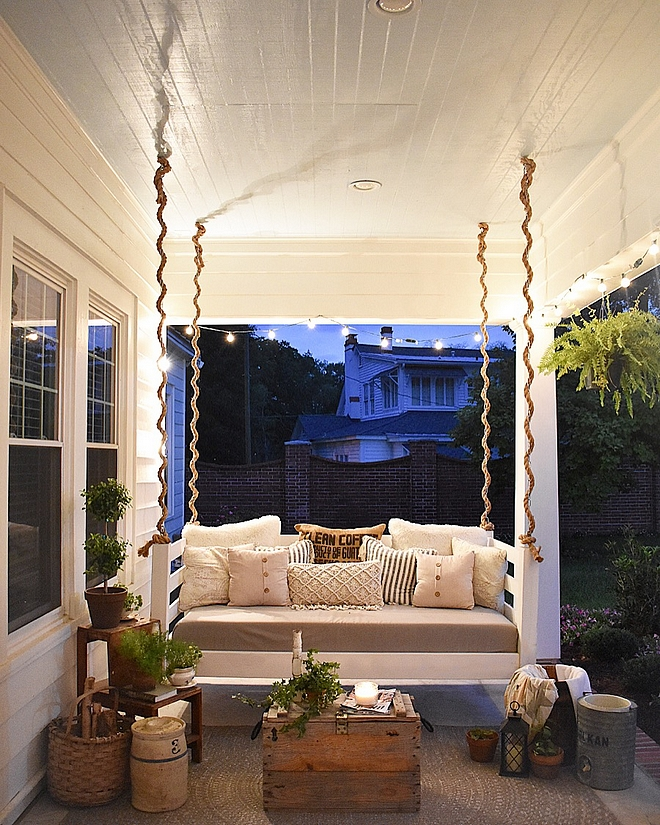 Porch Swing Rope Porch Swing Porch with blue ceiling and Rope Porch Swing Rope Porch Swing #Ropeswing #PorchSwing