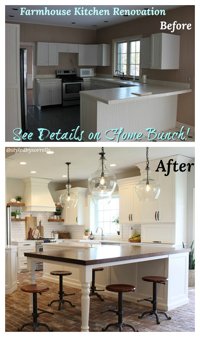 Before and After Farmhouse Kitchen Renovation Pictures #BeforeandAfterKitchen #BeforeandAfterFarmhouseKitchen #BeforeandAfterRenovationPictures #BeforeandAfterKitchenRenovation