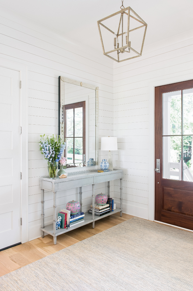 Benjamin Moore Chantilly Lace Benjamin Moore Chantilly Lace White shiplap foyer painted in Benjamin Moore Chantilly Lace #BenjaminMooreChantillyLace