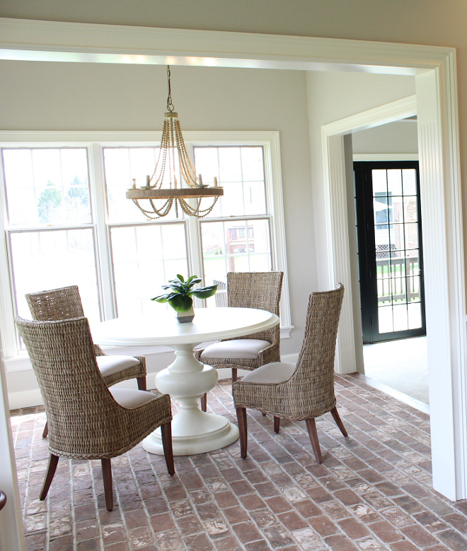 Worldly Gray Sherwin Williams Breakfast nook painted in Worldly Gray Sherwin Williams with brick flooring Worldly Gray Sherwin Williams #WorldlyGraySherwinWilliams #WorldlyGray #SherwinWilliams #SherwinWilliamspaintcolor