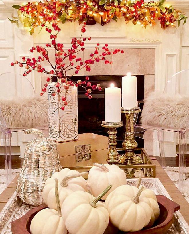 Coffee Table Decor White Pumpkin Fall Decorating Ideas