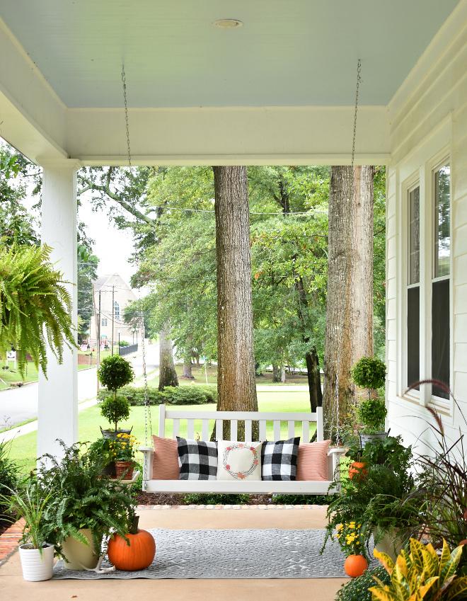 Fall Porch Decor Fall Porch Decor Fall Porch Decor Pillows Swing Plants Pumpkins #FallPorchDecor