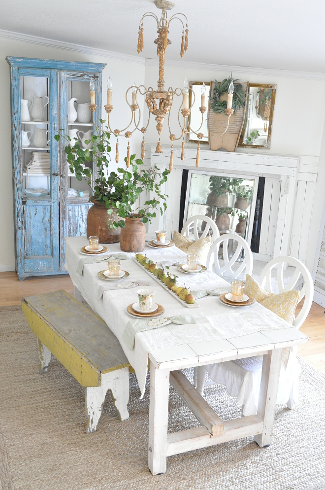 Farmhouse Fall Decor This is our dining room decorated in a Vintage French Country Farmhouse style with a perfect mix of vintage and new The #farmtable is custom built by my husband, painted in Bistro White by Valspar Farmhouse Fall Decor Farmhouse Fall Decor #FarmhouseFallDecor #FarmhouseFall