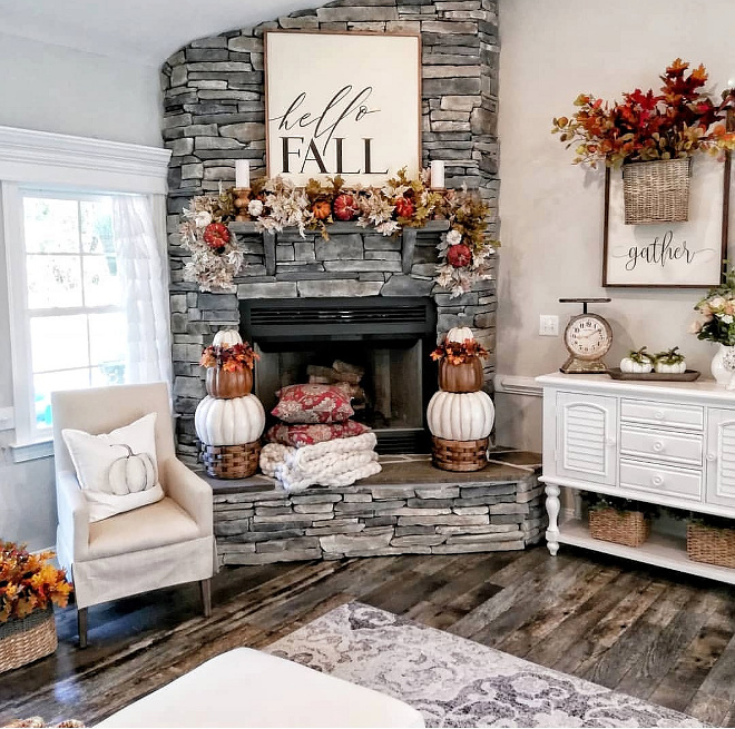 Farmhouse Fall Fireplace Decor Easily stack fall bushes (bush over stem) to create a luscious, full garland. Wire a bush on each end to drape. Tuck in some artificial pumpkins and it's amazing